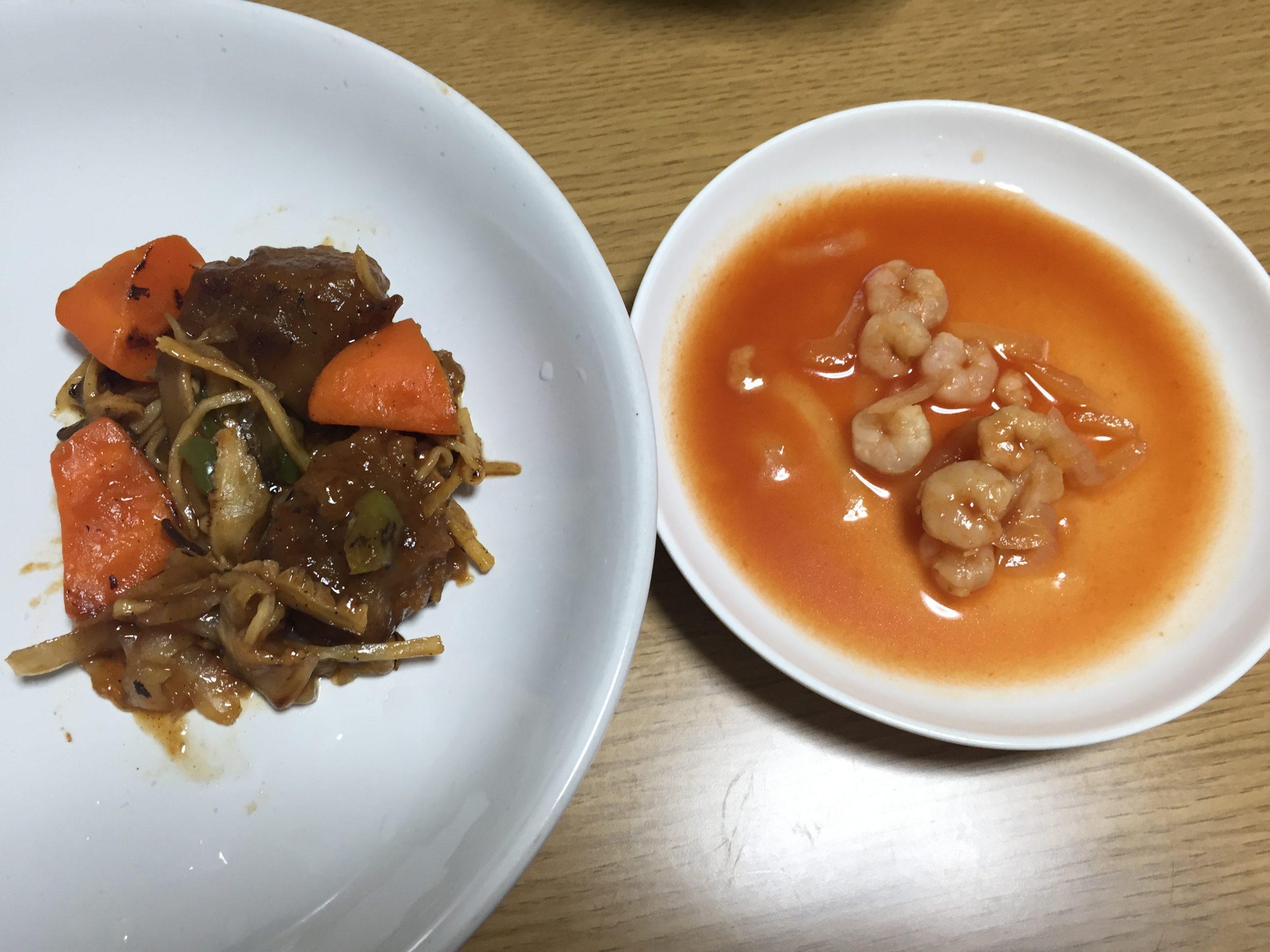 黒酢酢豚とエビチリ